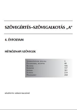 """45e9b01fe4 SZÖVEGÉRTÉS–SZÖVEGALKOTÁS """"A"""""""
